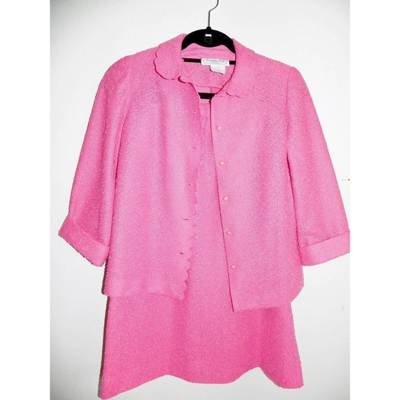 Leslie Fay Petites Pink 2 Piece Career Suit Vintag